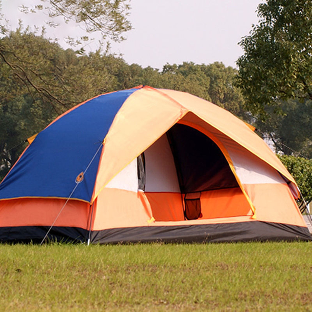 double layers camping tent 3 4 person one room tents fiberglass rod