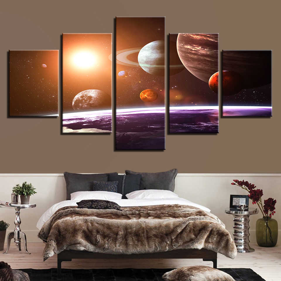 Planets Wall Art Canvas Wall Art Pictures Home Decor 5 Pieces Universe Space Five Planets Paintings Living Room Prints Abstract Poster Framework