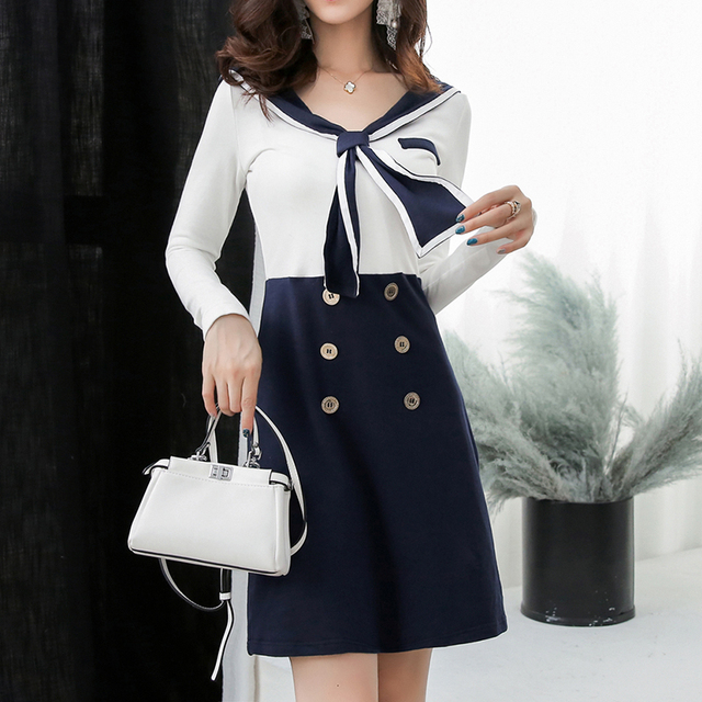 1b46cdb3f4b2 2018 New Autumn Women dress Sailor Collar Full Sleeve Slim V-Neck Color  Matching Accept Waist Dresses Dark Blue 267