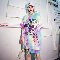 Summer Hip Hop Women Tee Shirt Loose Casual Fashion Tie Dyeing Short Sleeve Long T shirt Female Streetwear T shirts Harajuku Top