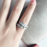 Pure 100% 925 Sterling Silver Jewelry snake ring For Women slim thin animal ring party wedding with zircon famous brand jewelry