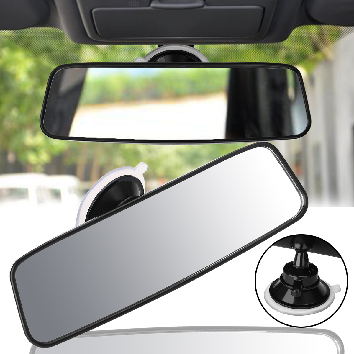 Car Auto Wide Flat Interior Rear View Mirror Suction Clip On Rearview Universal