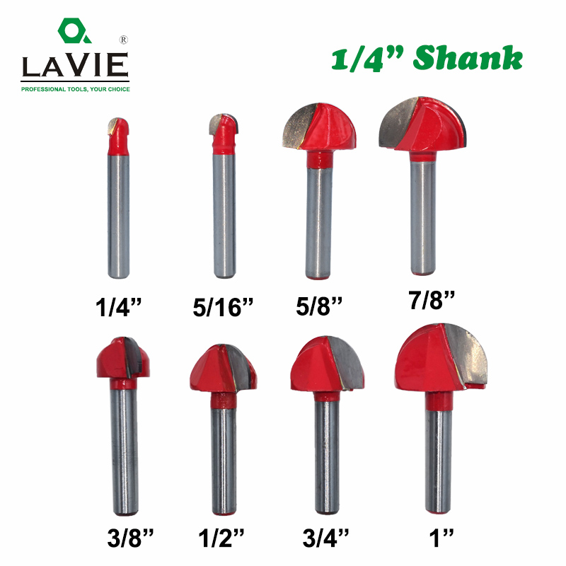LAVIE 1pc 1/4 6.35mm Shank Ball Nose Router Bit Round Milling Cutter For Wood CNC Radius Core Box Solid Carbide Tools MC01100