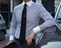 Бесплатная доставка На Заказ элегантные мужские с длинным рукавом синий полосатый бизнес белый воротник рубашки работы с вашим собственным этикетки с логотипом QR-1529