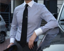 Free shipping Custom men's elegant long sleeve blue striped white collar business work shirts with your own label logo QR-1529