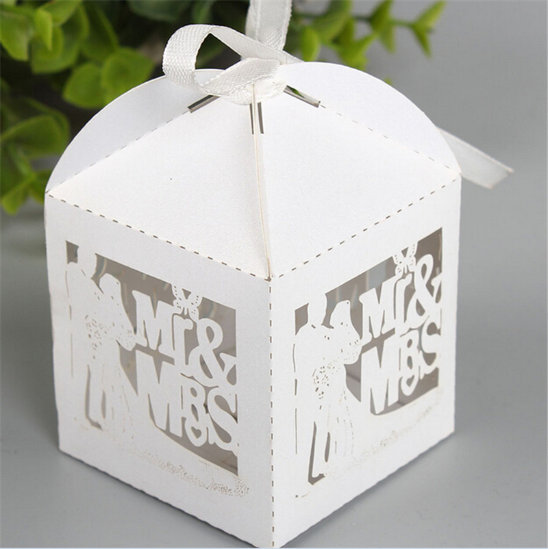 White Wedding Favors And Gifts Box Bride Mr Mrs Laser Elegant Luxury Decoration Party Event Supplies Paper Candy Bag For Guests In Gift Bags Wring