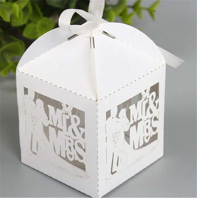 White Wedding Favors And Gifts Box Bride Mr Mrs Laser Elegant Luxury Decoration Party Event Supplies