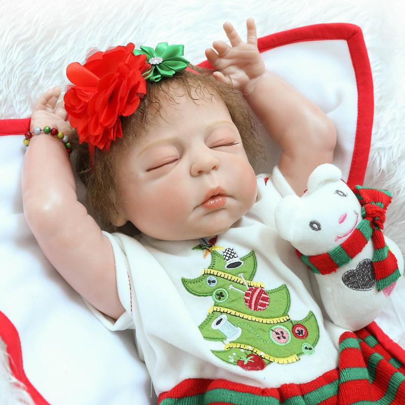 ФОТО Soft Silicone Reborn Dolls 55cm Newborn Realistic Lifelike 22inch BeBe Reborn Baby Dolls Toys Brinquedos For Baby Christmas Gift