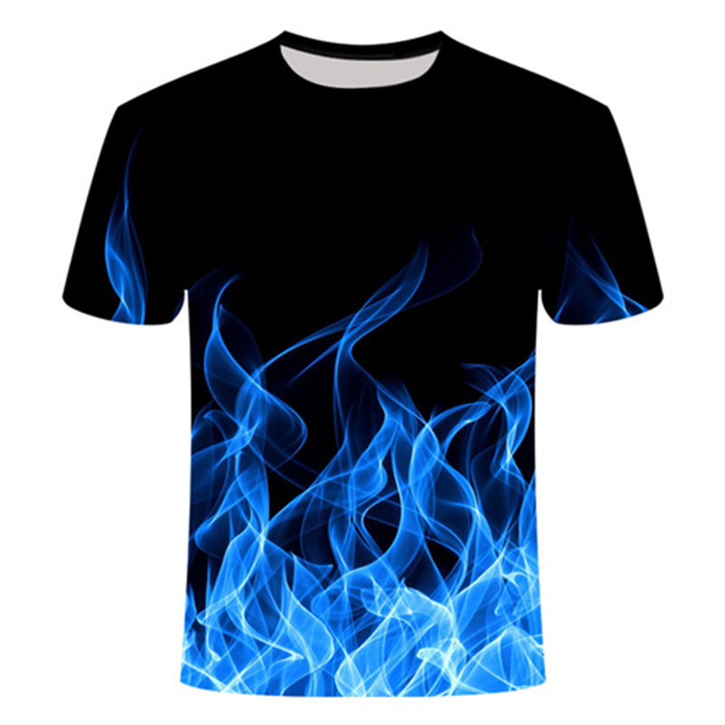 Blue Fire Classic Series Men 3d T-shirt Poker Flame O-Neck Short 3D Printed  Women Tee High Quality Top Bodybuilding Elastic Tee
