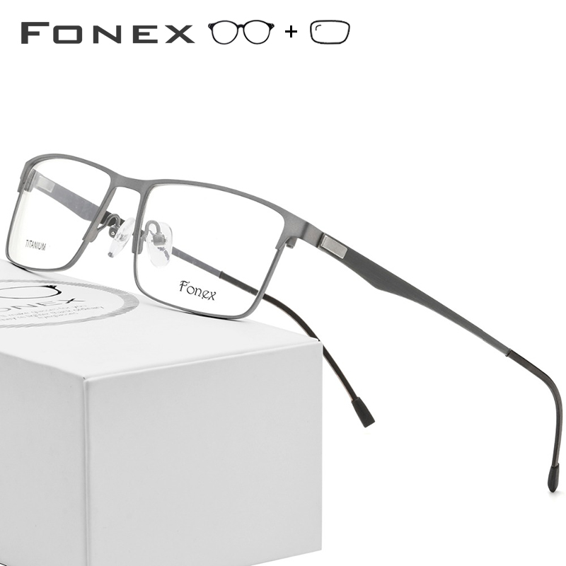 Titanium Alloy Prescription Glasses Men Ultralight Square Myopia Prescription Eyeglasses Metal Optical Frame Screwless Eyewear(China)