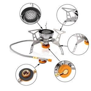 Image 5 - Lixada חיצוני קמפינג 3200W כוח גדול Windproof כיריים גז בוטאן מבער נייד מתקפל פיצול תנור עם 9 צלחת שמשות