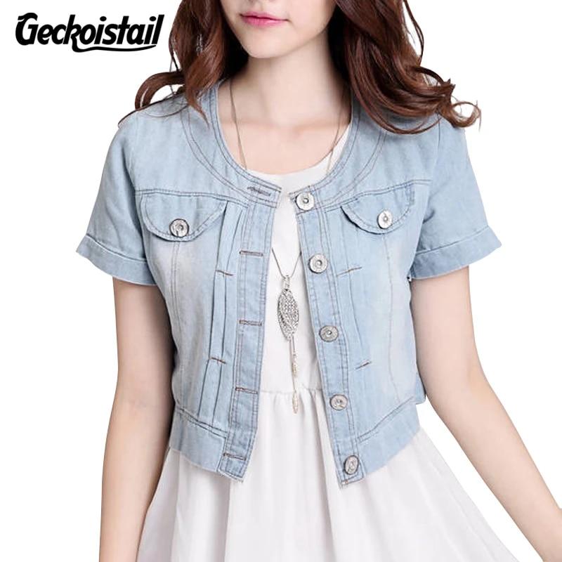 New Plus Size Women Round Neck Short Denim Jean Jacket Short Sleeve Button Coat