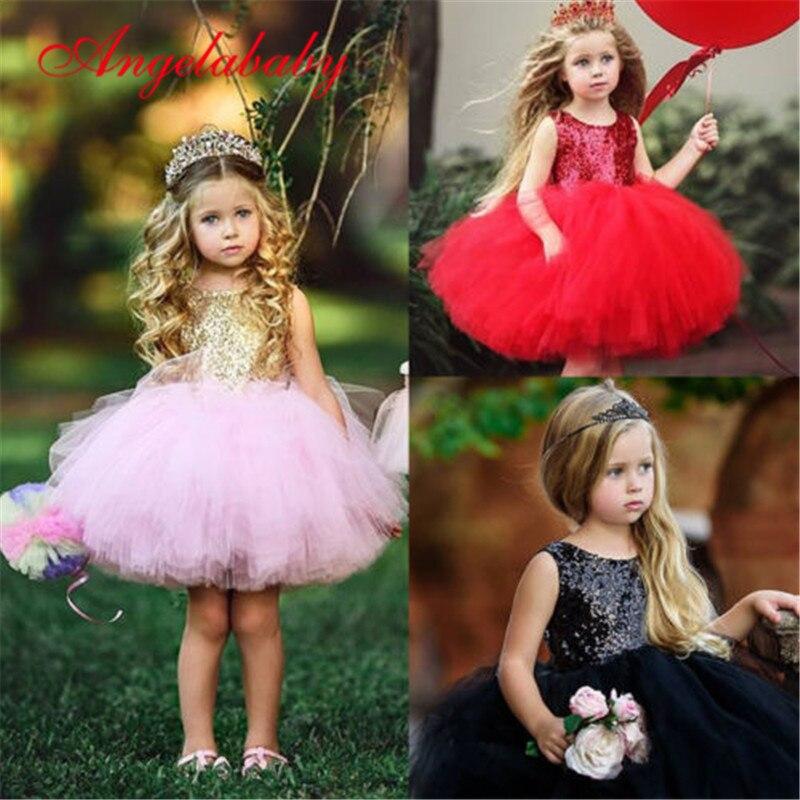 2019 Princess Girls Sequin Dresses Summer Baby Girl Ball Gown Dress Kids Children Party Dresses For Girls Vestidos