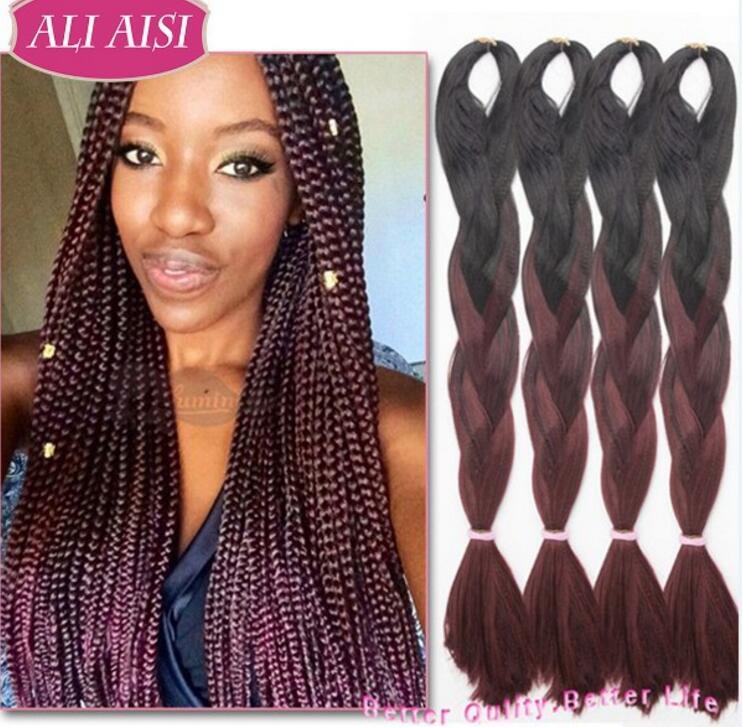 24 60cm Ombre Kanekalon Braiding Hair Jumbo Braid Afro Synthetic Extensions Braids Extension On Aliexpress Alibaba