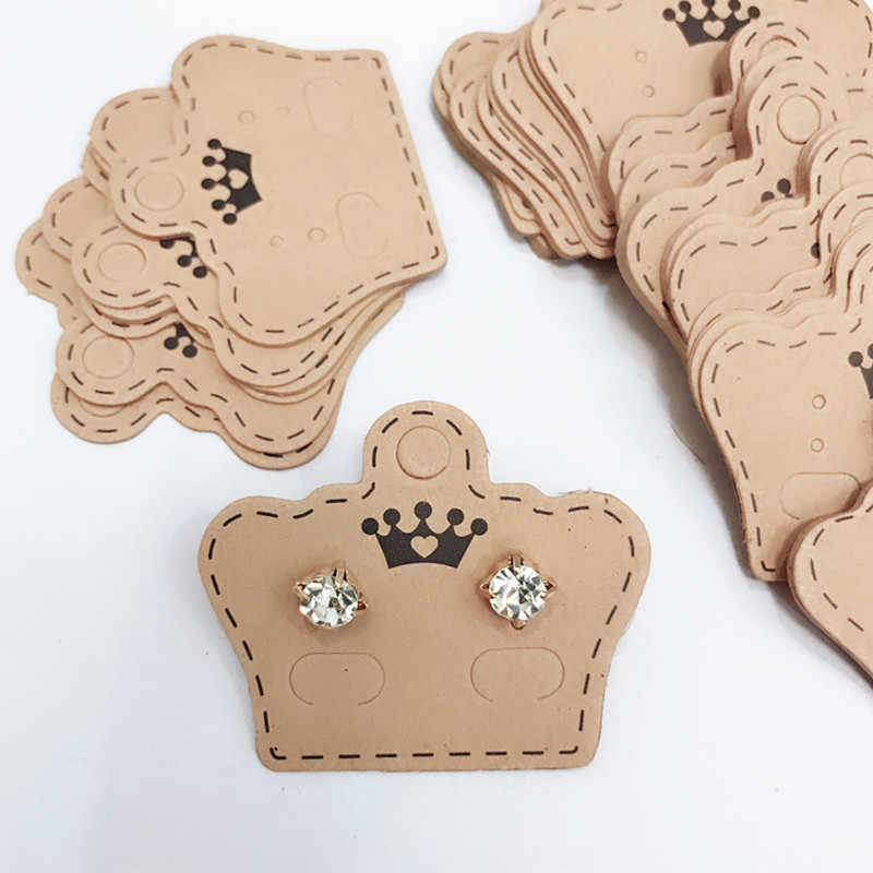 Ear Studs Card Tag Marking Label Tags Necklace/Earring/Hairpin/Pendant Packing Cards Jewelry Displays paper Kraft Paper 10Pcs