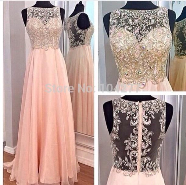 89new Design Boat Neck Gold Beaded Bodice Peach Chiffon Skirt Long Prom Dresses A Line