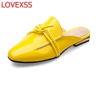 LOVEXSS 2018 Spring And Summer New Fashion Leather Baotou Slippers Female Bow British Retro Square Head