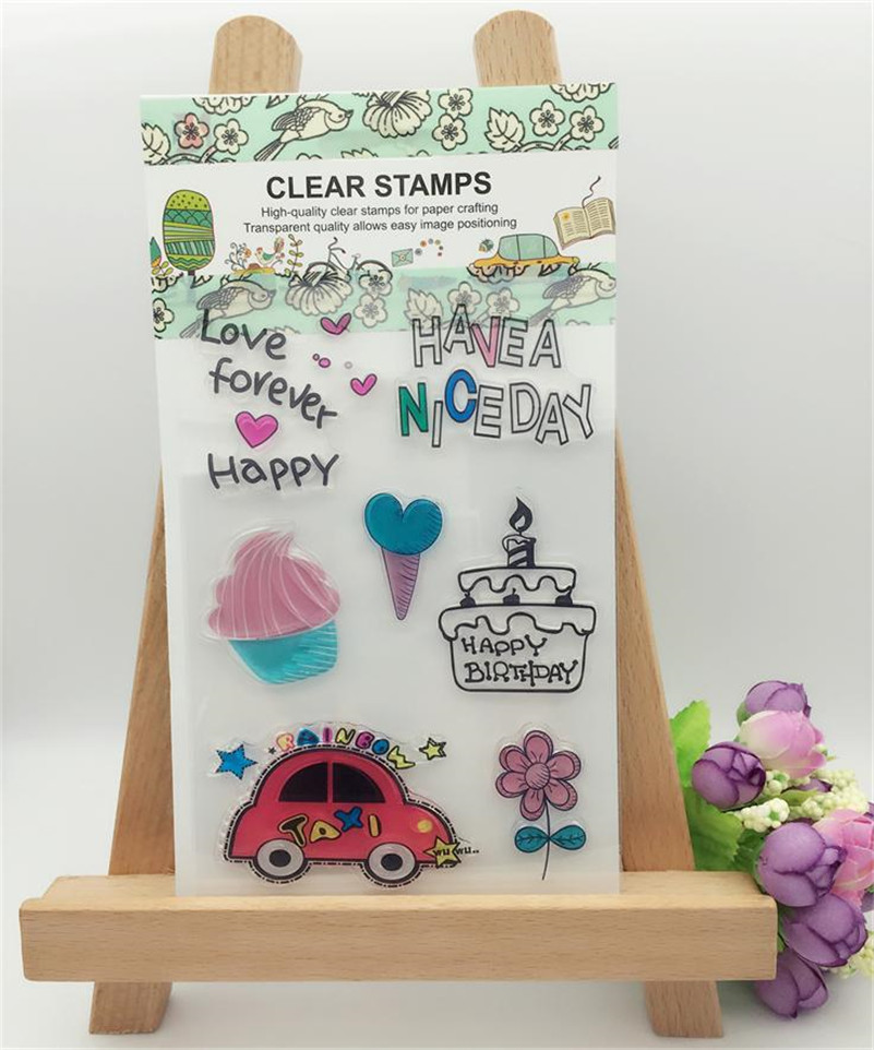 about car and cake  for diy scrapbooking paper craft card clear transparent stamp for wedding gift CL-078 lovely animals and ballon design transparent clear silicone stamp for diy scrapbooking photo album clear stamp cl 278