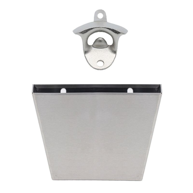 Wall Mounted Beer Bottle Opener with Cap Catcher Container Box Storage Holder Collect Bucket Set Kitchen Tool