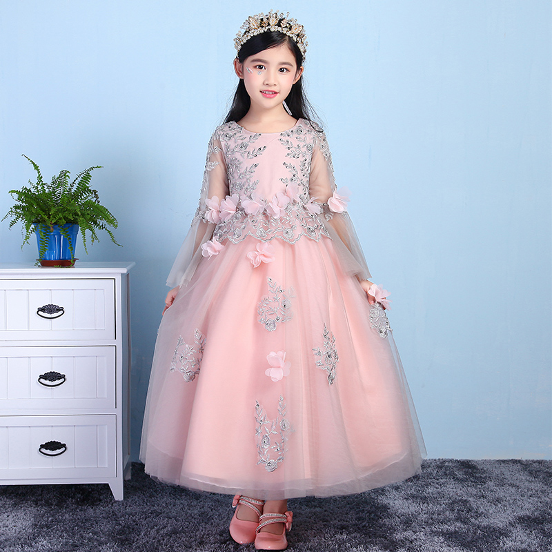 2018 New Kids Toddler Birthday Wedding Party Flower Ball Gown Princess Dresses Baby Girls Host Evening Party Pageant Long Dress new 2018 summer elegant pink flower princess wedding girls dress kids baby ball gown birthday evening prom dresses clothes