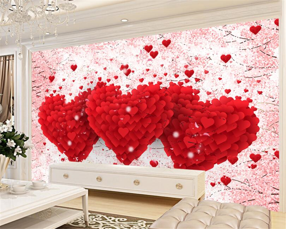 beibehang custom marriage room decoration 3d wallpaper romantic love