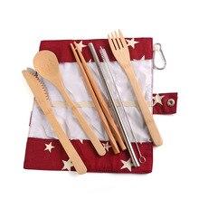 купить Wooden Cutlery Sets Korean Chopsticks Knife Fork Spoon bamboo flatware set Eco-friendly Metal Straw with Straw Bag Tableware Set по цене 432.95 рублей