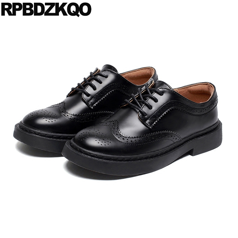 Vintage Women Oxfords Shoes 2018 Thick Sole Factory Direct Lace Up Brogue Flats British Style Round Toe Black Japanese Spring xiaying smile woman pumps shoes women spring autumn wedges heels british style classics round toe lace up thick sole women shoes