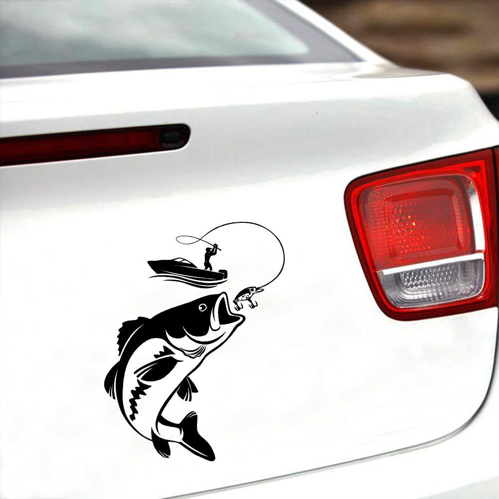 2x Fisherman Fishing On Board Sticker Covering Auto Car Window Body Vinyl Decals