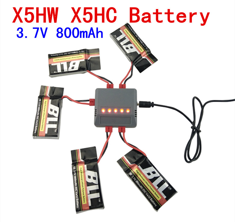 For Syma X5HW X5HC 5PCS 3 7v 800mAh font b battery b font 5in1 charger Quadcopter