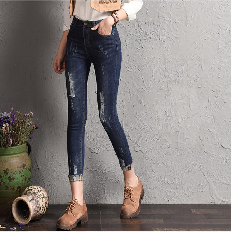 2017 spring hole jeans female size slim waisted jeans pencil baggy jeans