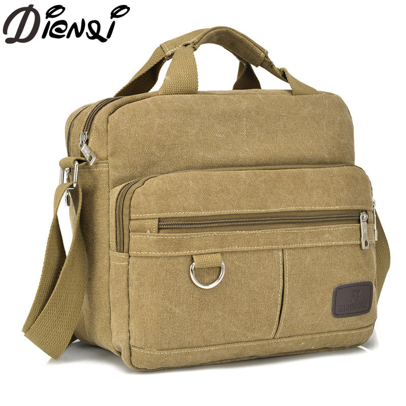 DIENQI Famous Brand Vintage Briefcase Canvas Bag Men's Handbags Casual Travel Bolsa Masculina Men Crossbody Bag Messenger Bags augur men s messenger bag multifunction canvas leather crossbody bag men military army vintage large shoulder bag travel bags