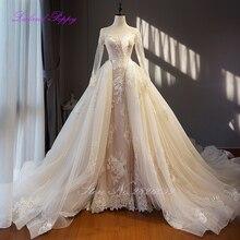 Glamorous Lace Appliques Sheer Neck Long Sleeves Wedding Dresses Detachable  Train Vestido de novia Bridal Gowns a794ccb8bdac