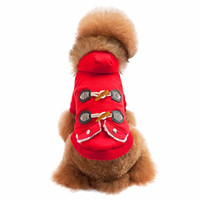 Pet Dog Cat Fur Collar Ox Horn Button Warm With Thick Coat Sweater Clothes