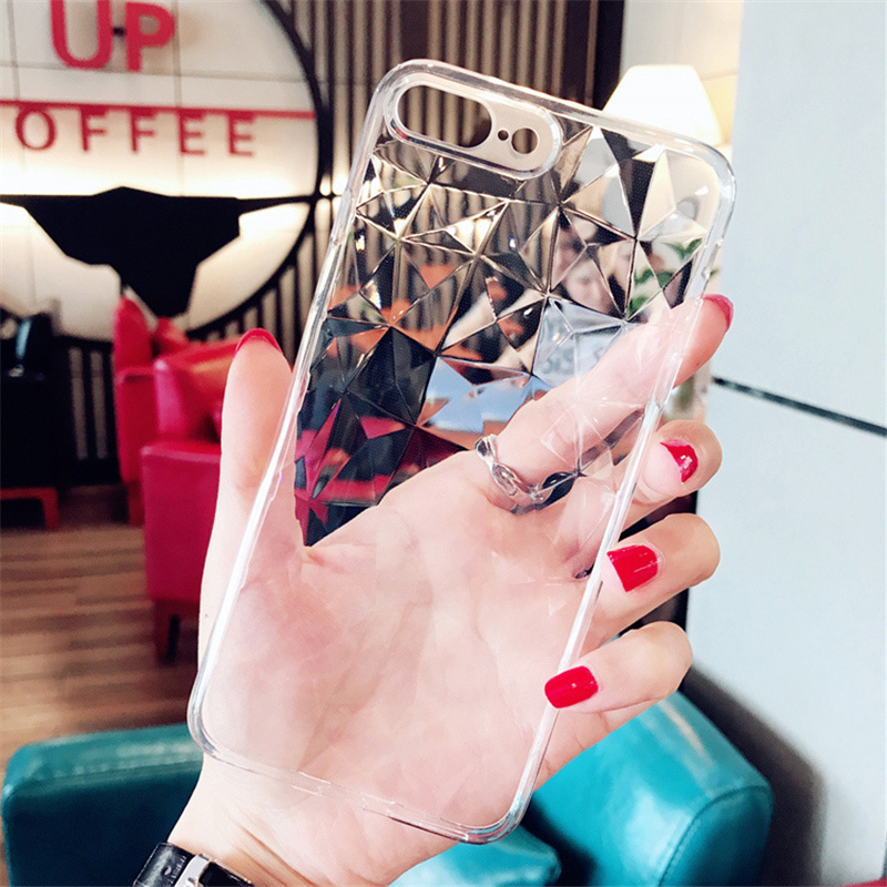 Lovebay Diamond Texture Case For iPhone 6 6s 7 8 Plus X XR XS Max Soft Phone Cover for iPhone 7 Luxury Transparent Ultra Thin(China)