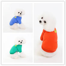 Spring and summer new smiley embroidered pet sweater  clothes dog cute puppy