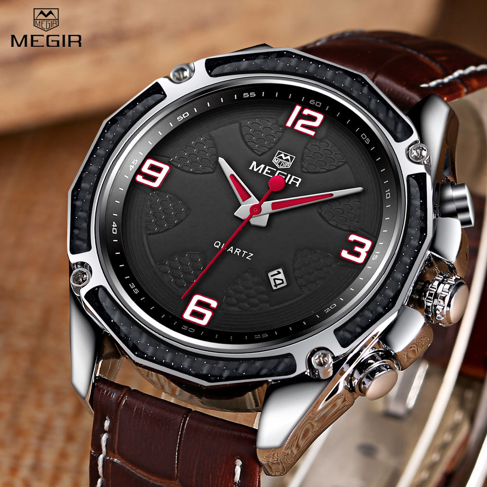 megir quartz watch men fashion genuine leather watches mens gifts wrist watch enamel painting wristwatch relogio