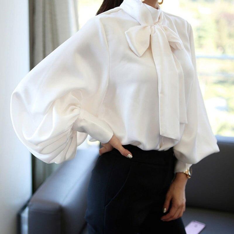 Ladies blouse 2018 Vintage style Satin Lantern Sleeve Shirt Bow Tie Neck Loose Elegant party office Blouse Top women clothing