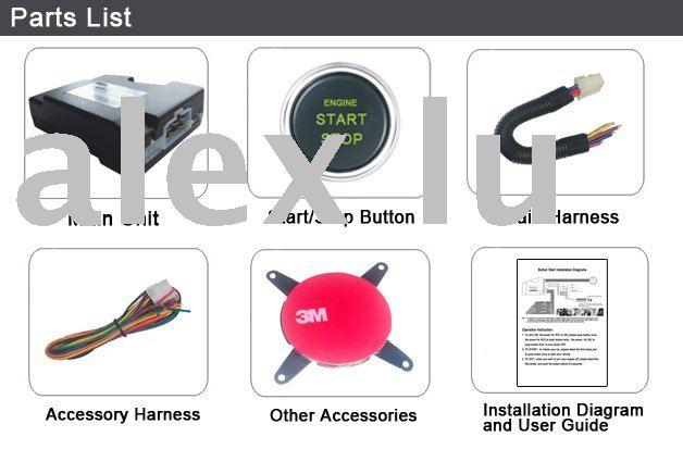 (Shipping Free)Passive Keyless Entry Car Aalarm+window closer +Engine push start button