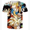 2016 Nuevo T Shirt 3D Hombres Camiseta Homme de Dragon Ball Anime Super héroe Impreso Divertido Camisetas Slim Fit O Cuello Camiseta Camiseta hombres