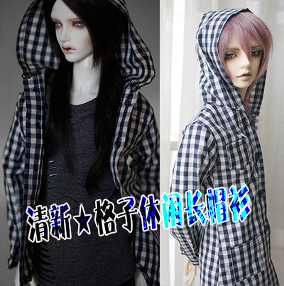 1/4 1/3 SD17 uncle BJD SD Doll accessories Bjd clothes plaid shirt coat unisex irregular long t shirt for bjd doll 1 6 yosd 1 4 msd 1 3 sd10 sd13 sd16 sd17 uncle luts dod as dz sd doll clothes cwb7