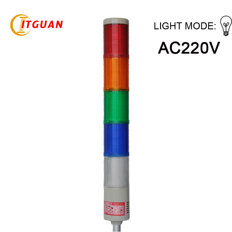 LTA-205 AC220V 5 Layers Bulb tower light Alarm Tower Signal Emergency signal tower light dark tower