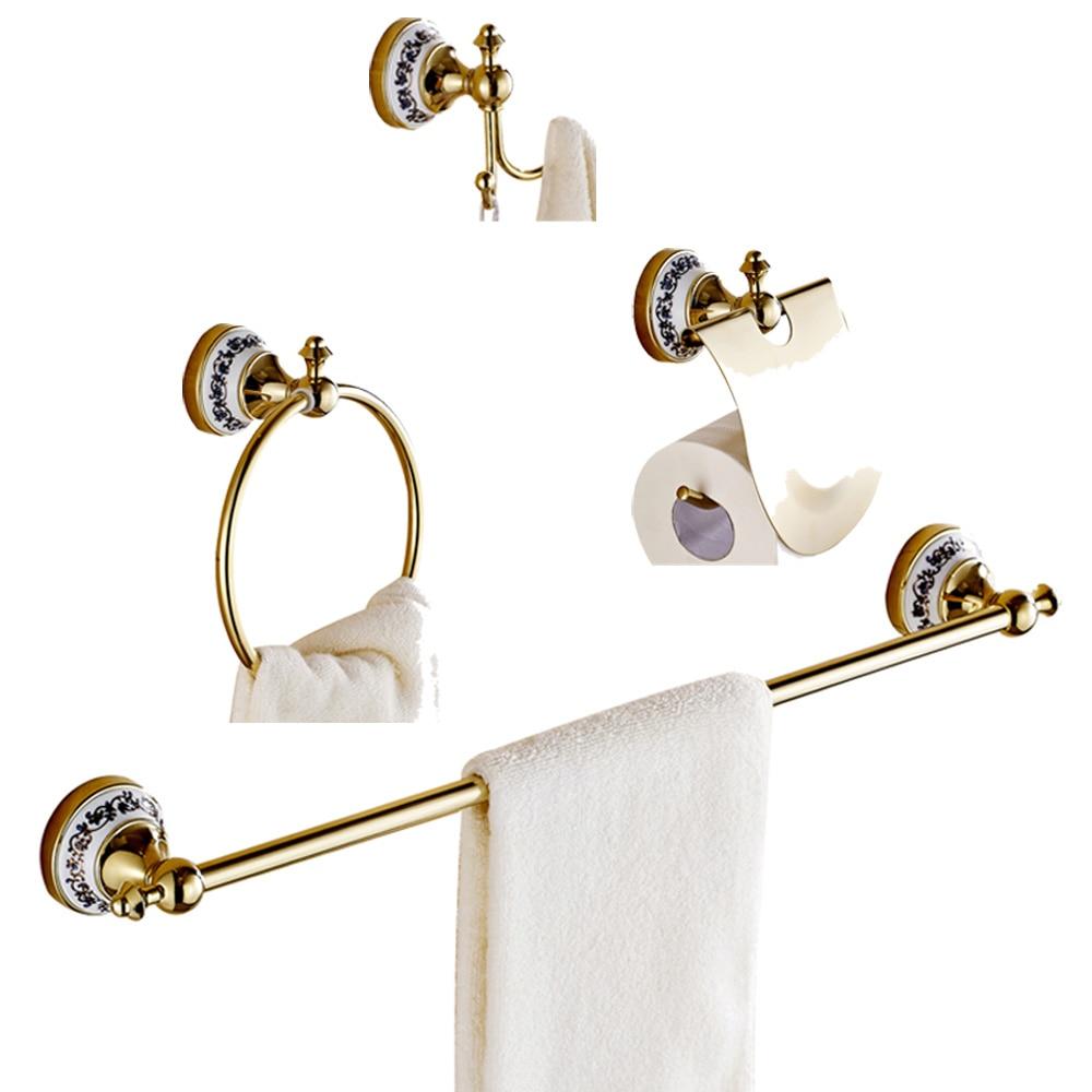 Лейден золотой латуни и Creamic современный 4 шт. Ванная комната Аппаратные Наборы Полотенца бар держатель Полотенца кольцо туалет Бумага держ