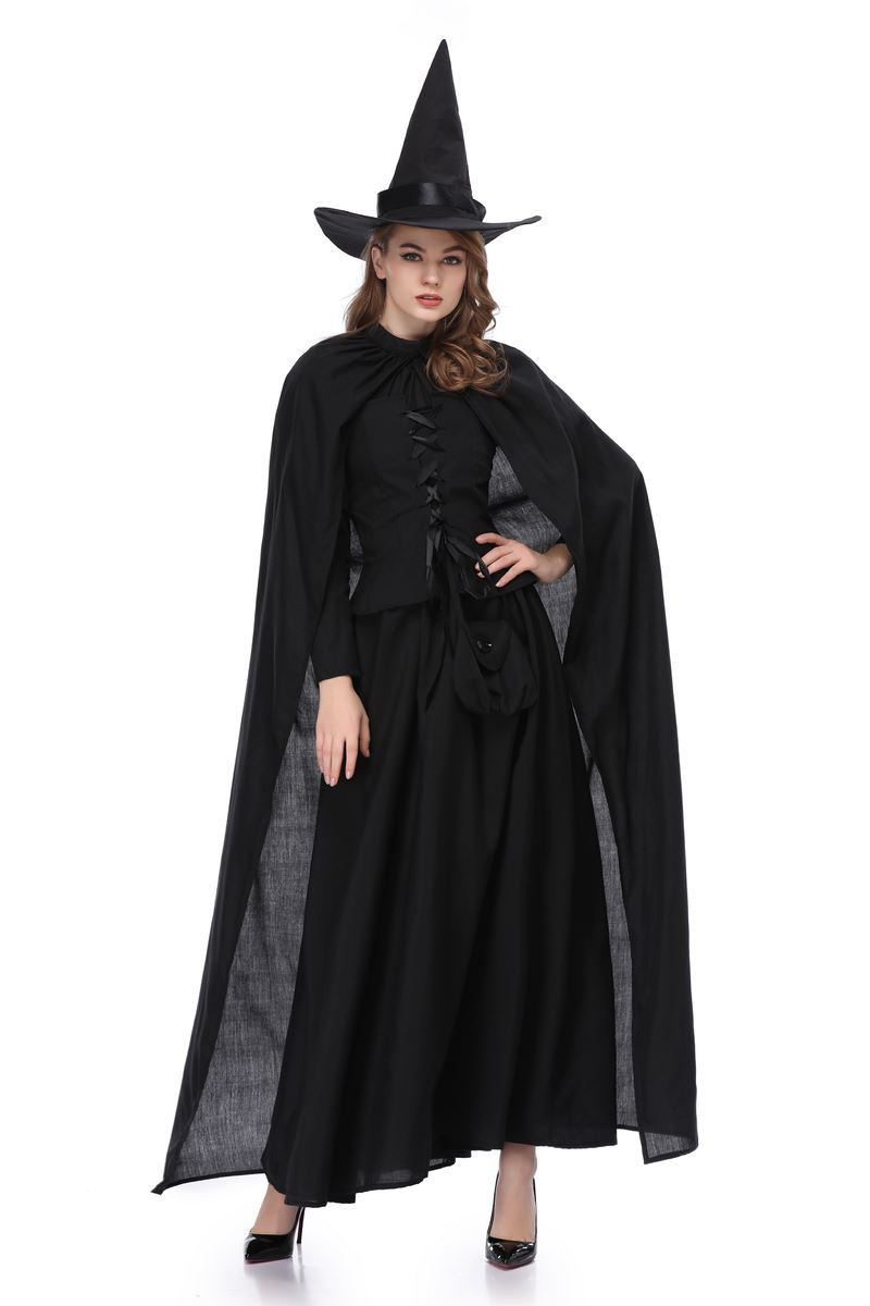 Adult Women Halloween Witch Gothic Costume Long Robe Dress Black Cosplay Vintage Cloak Fancy Outfit For