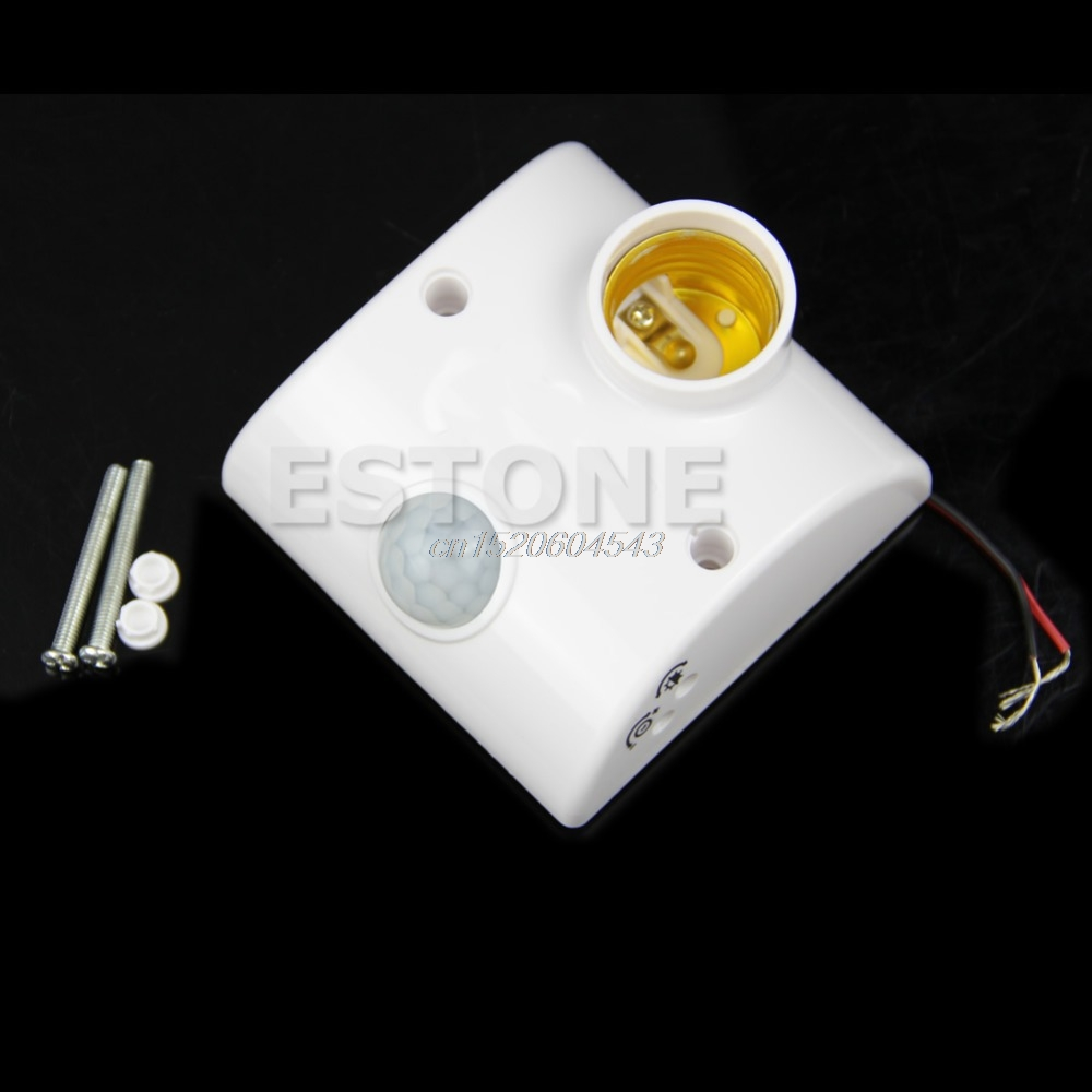цена на E27 IR Infrared Body Sensor Human Auto Lamps Holder Stand Motion Sensing Switch- R06 Drop Ship