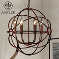 Loft Nordic Candle Chandelier Retro Cage Crystal Pendant Lamp Bar Light Personality Dining Room Lamp