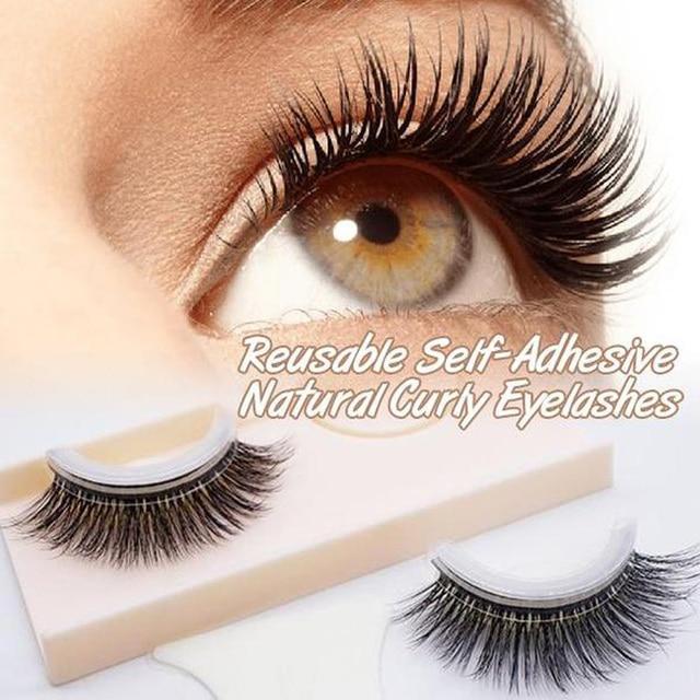6e066caf500 Reusable Self-Adhesive Natural Curly Eyelashes Self Adhesive Eye lashes  Make up 3D False Eyelashes