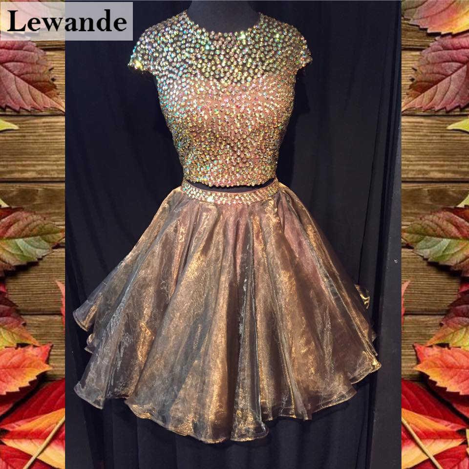 Open Back двух частей с Короткими Рукавами Homecoming платье Короткое коричневый линии