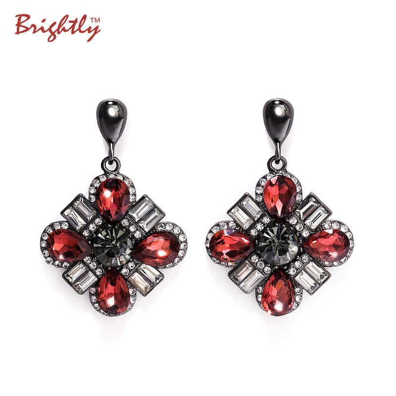 Brightly Drop Earrings with Wine Red Rhinestones Earrings For Women Evening Party Dress Fashion Style