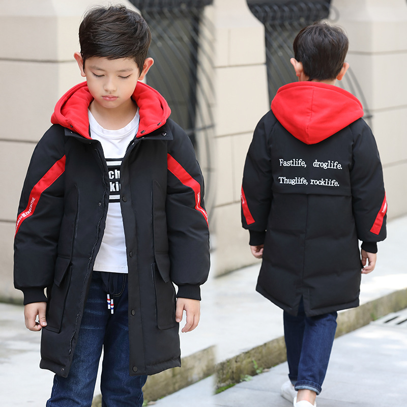 цена на 120-160 Children Boys Down Coat Jacket Long Coat Hooded Kids Winter Thick Warm Outerwear Clothing For Black / Red / Army Green