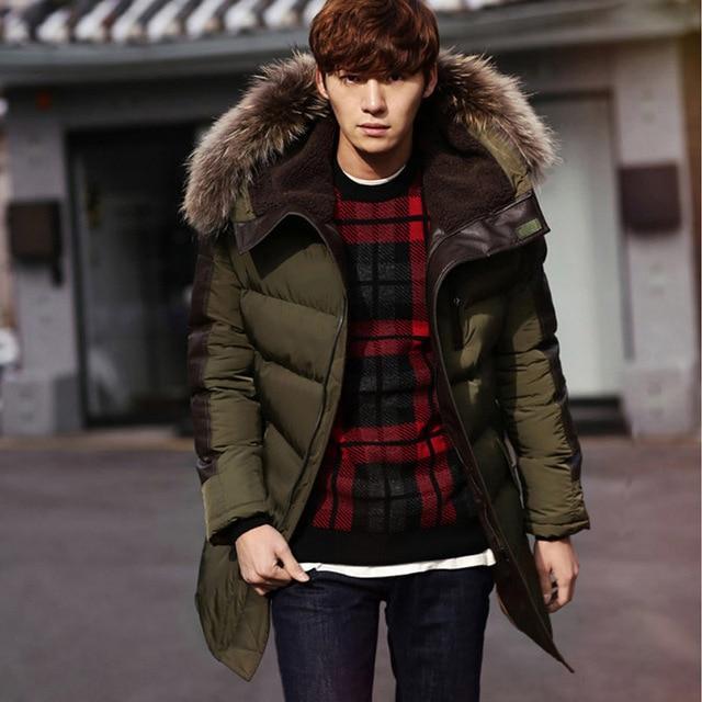 d76990607fec5 2017 Men s Parkas Jacket Winter Jacket Men Fashion Thickening Fur Hooded  Army Green Down Jacket Mens Puffer Jacket Outwear S-XXL